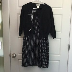 Black/white polka dotted dress with sweater